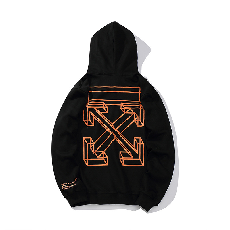 Europe And America Popular Brand Off Ow White 6 Dotted Line Printed Arrowhead Men And Women Casual Hoodie Batch