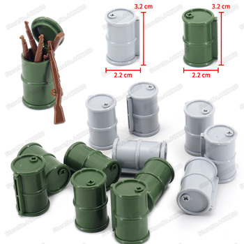 Assembled Military Oil Drum Building Block Diy World War 2 Figures Army Weapons Battlefield Model Moc Child Christmas Gifts Toys assembled building block mediaeval castle soldiers model war military knights plastics figures toy diy toy for boys