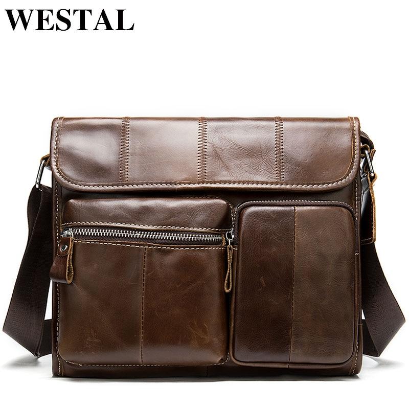 westal сумка мужская натуральная кожа - WESTAL Mens Bag Genuine Leather Male Messenger Bag Men Shoulder Bags Casual Crossbody Bags for Men Leather Handbags 380