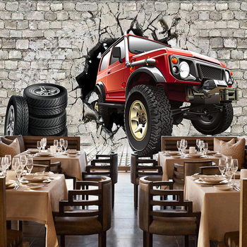 Custom 3D Poster Photo Wallpaper Retro Brick Wall Tire Car Restaurant KTV Bar Tooling Background Wall Decoration Mural Wallpaper custom 3d mural 3d stereo personality ktv bar background wall mural wallpaper graffiti music symbol mural for ktv bar