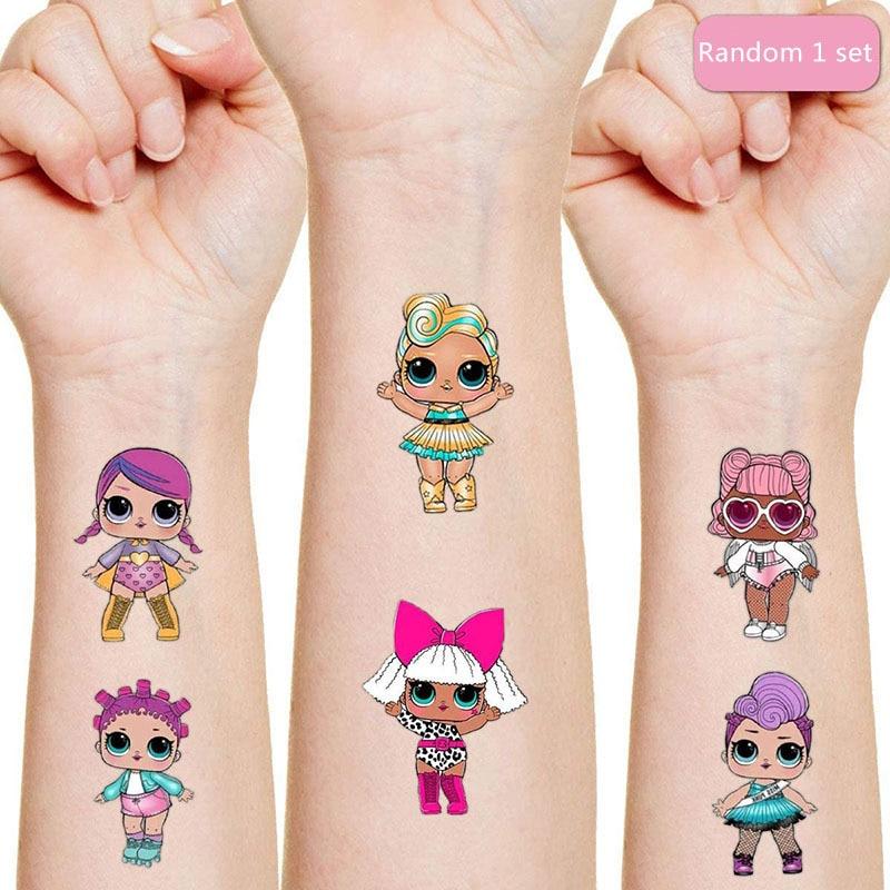 Lol surpresa bonecas tatuagem original etiqueta aleatória 1 pçs figura de ação surpresa dos desenhos animados menina natal lol presentes aniversário