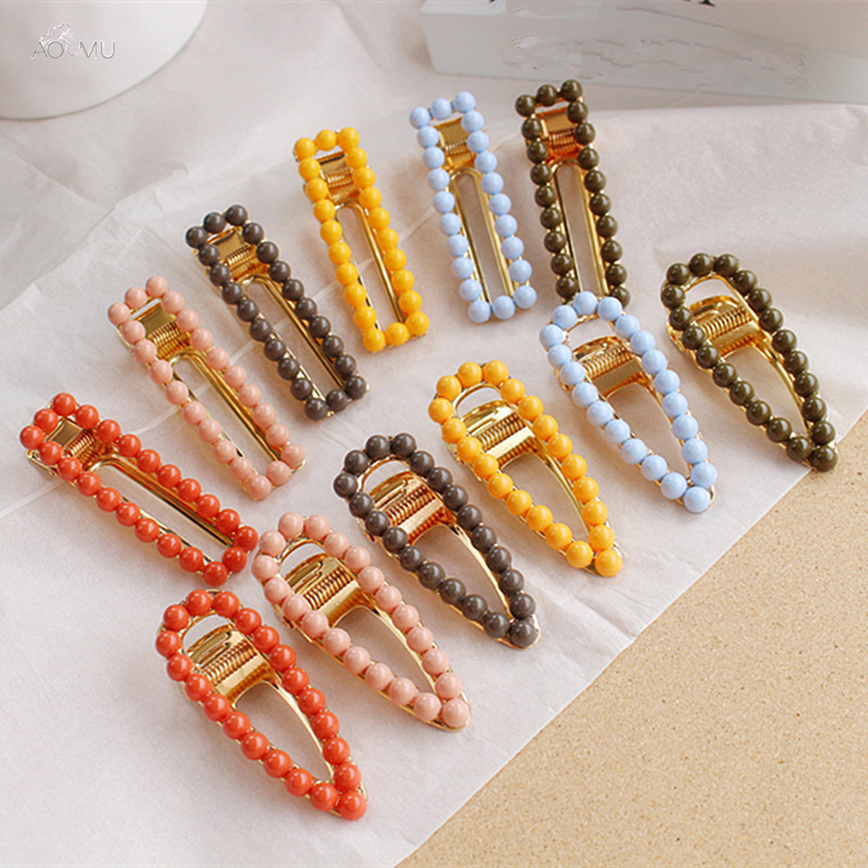 AOMU  Korea Beads Cute Hairpins Candy Color Girls Hair Clips Geometric  Water Drop Hollow Barrettes Metal Alloy Hair Accessories