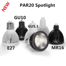 10X New LED Spotlight GU10 E27 GU5.3 15W PAR20 Dimmable 110V 220V Lamp Black White Appearance Ceiling Table Lamp