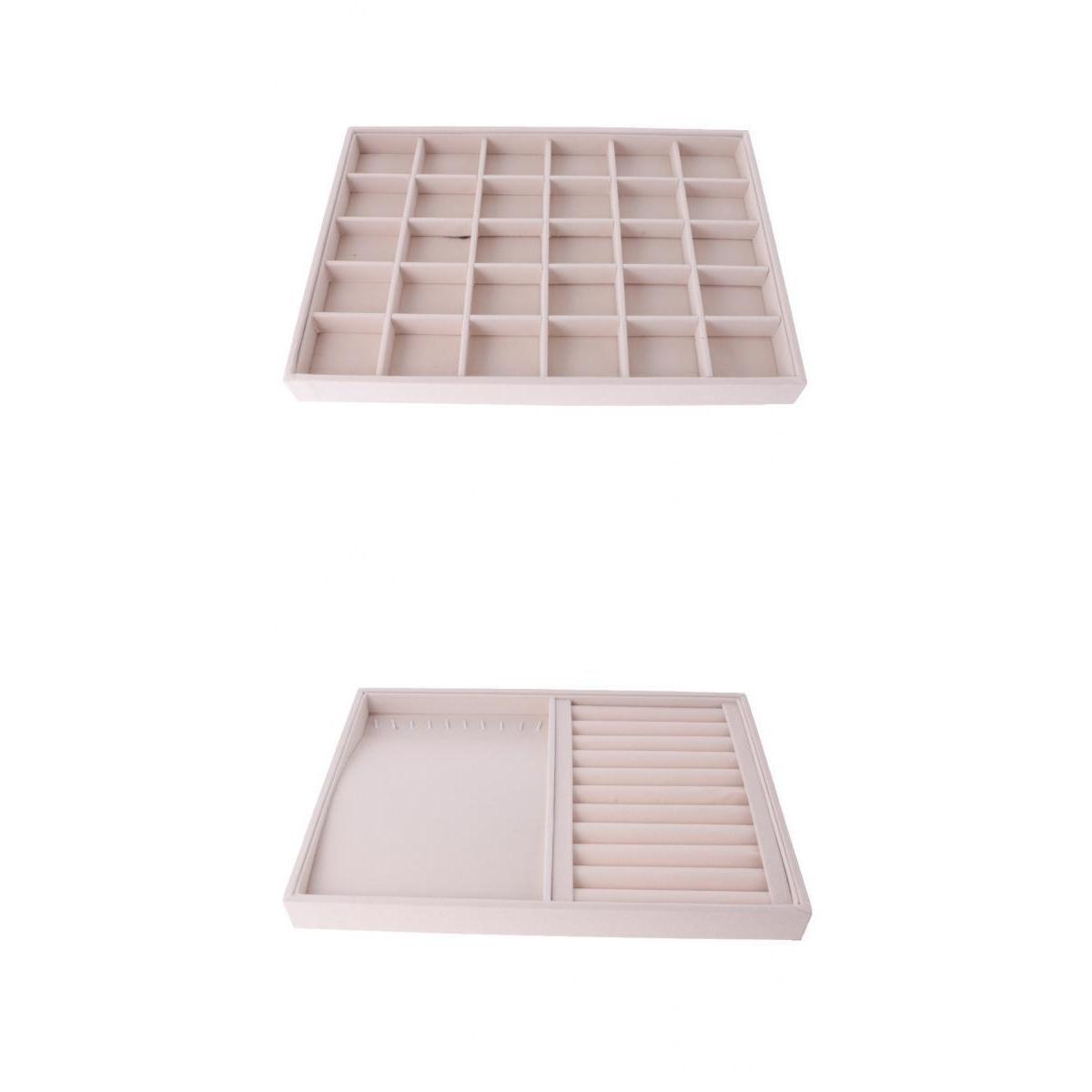 Image 5 - 2 pièces velours tiroir bijoux organisateur plateau montre anneaux vitrine daffichage multifonctionBoîtes et vitrines à bijoux   -