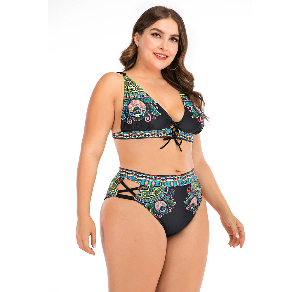 2020 Print Plus Size Bikini Set Women High Waist Swimsuit 4XL Fat Feminine Big Bra Two Piece Bikini Push Up Beach wear For 100kg 4