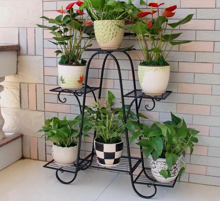 Flower shelf multi-layer indoor balcony decoration frame iron living room provincial space flower pot floor frame