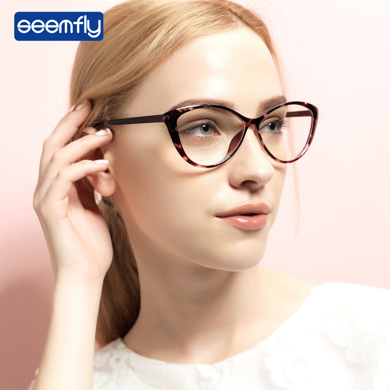 Seemfly Women Plain Glasses Frames Cat Eye Clear Lens Glasses Oversized Frame Brand Designer Optical New Fashion Eyewear