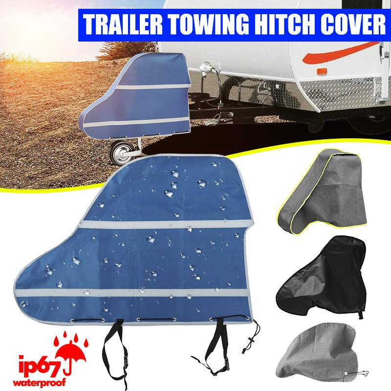 Universal 420D Waterproof Caravan Trailer Towing Hitch Cover Tow Ball Coupling Lock Covers Dustproof For <font><b>RV</b></font> <font><b>Motorhome</b></font> image