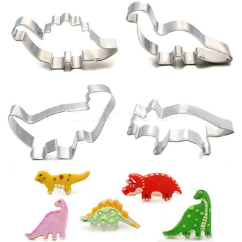 4Pcs/Set Stainless Steel Dinosaur Animal Fondant Cake Cookie Biscuit Cutter Decorating Mould Pastry Baking Tools ttlife unicorn animal cookie cutter stainless steel fondant cake baking mold sugarcraft chocolate pastry diy tools biscuit mould