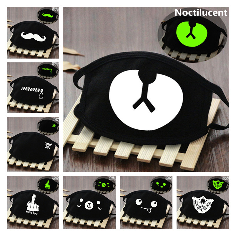Cute Anime Cosplay Masks Cotton Washable Noctilucent Skull Bear Mask Breathable Dust-proof Street Sports Mask Props New
