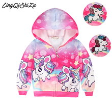 Baby Girl Unicorn Jacket Autumn Cute Sequins Clothes Outerwear Jackets & Coats for girls hooded sweatshirt 3797 reima jackets 8689577 for girls polyester winter fur clothes girl