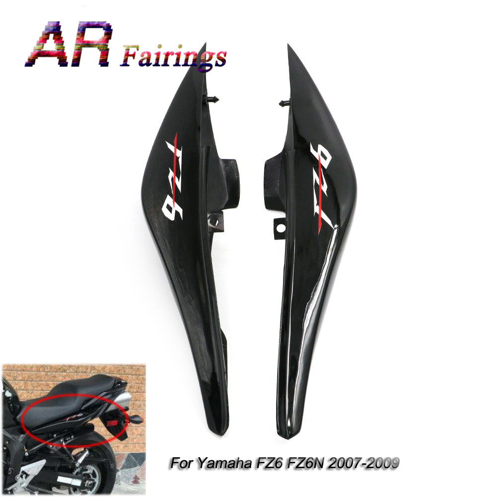 1 Pair Motorcycle Rear Left Right Upper Side Fairings Panel Black High Quality Plastic For Yamaha FZ6 FZ6N FZ-6N 2007 2008 2009