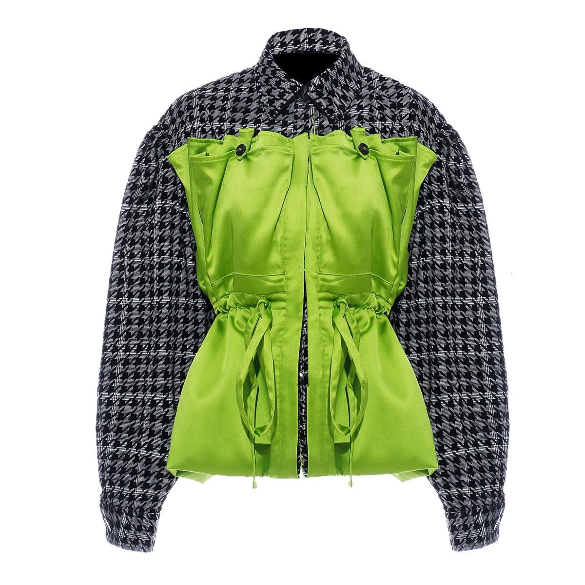 [EAM] Loose Fit Plaid Drawstring Split Big Size Jacket New Lapel Long Sleeve Women Coat Fashion Tide Spring Autumn 2020 1H203 7