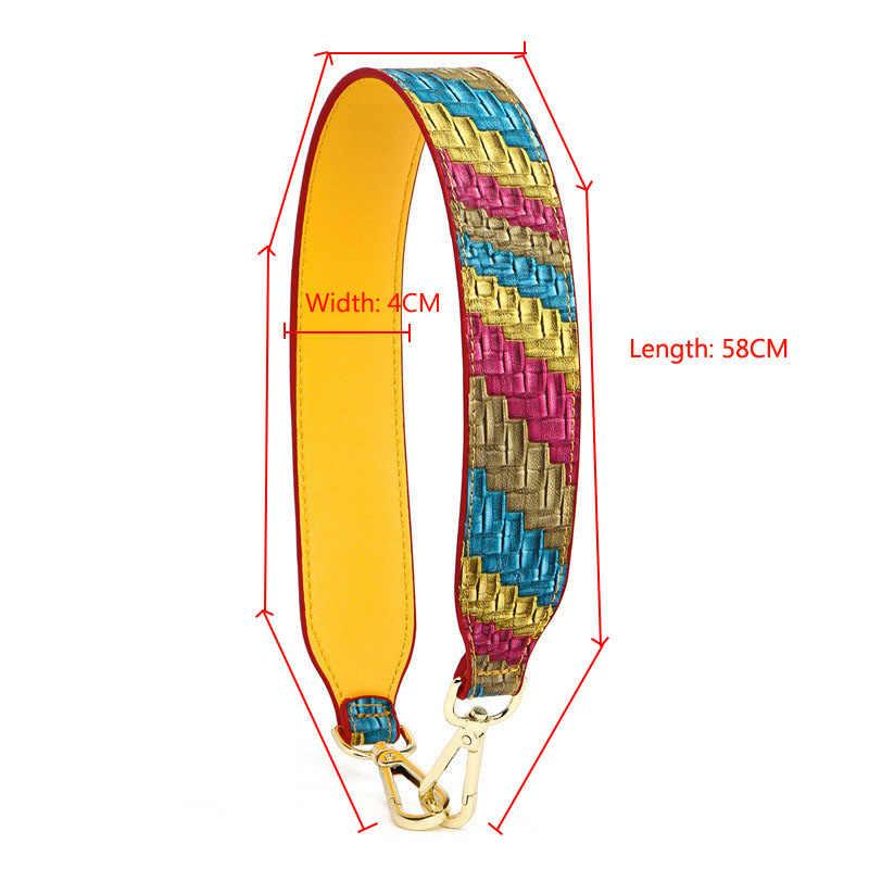 BAMADER de alta calidad de cuero genuino de las mujeres de la correa del bolso corto 58CM reemplazable de moda serpiente leopardo ancho hombro Correa Obag