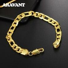 925 srebrna bransoletka 6MM 8 cali Curb kubański łańcuch złoty kolor bransoletki dla kobiet mężczyzn biżuteria akcesoria