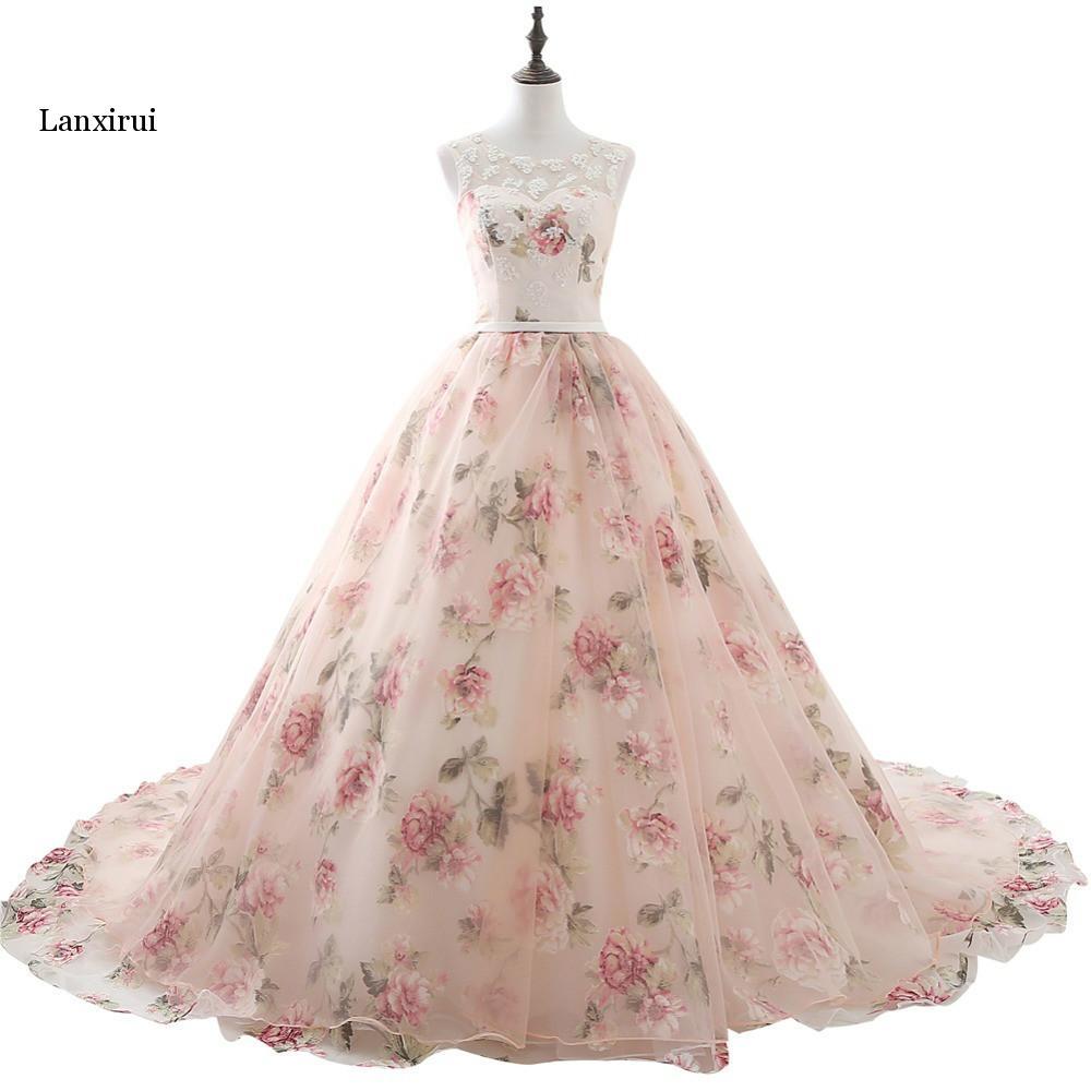 Lanxirui longues robes De soirée avec Appliques en dentelle imprimé Robe formelle florale pour les femmes vraie Photo Robe De soirée