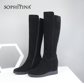SOPHITINA Solid Wedge Boots High Quality Cow Suede Comfortable Round Toe Fashion Zipper Handmade Shoes New Women's Boots PO288