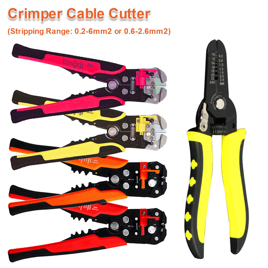Crimper Cable Cutter Automatic Wire Stripper Multifunction Pliers For Wire Stripping Crimping Terminal 24-10AWG/ 0.2-6mm2