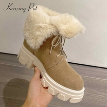 Snow-Boots Krazing-Pot Cow-Suede Rhinestone Handmade High-Heel Young-Girls Thick Lace-Up