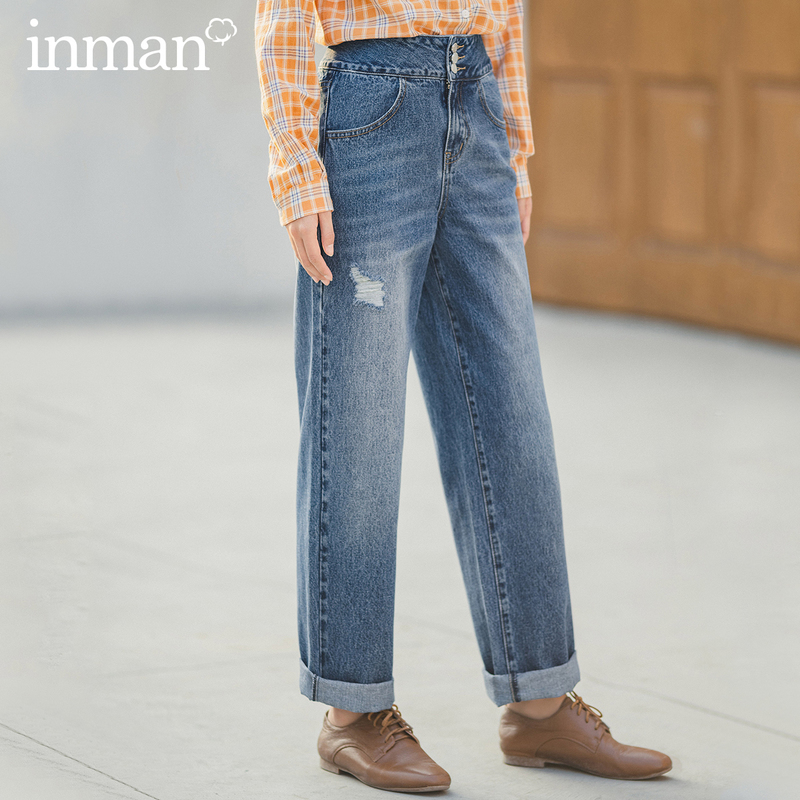 INMAN 2020 Spring New Arrival Literary Personality Hongkong Style Straight Cylinder Loose Wash Worn Women Leans
