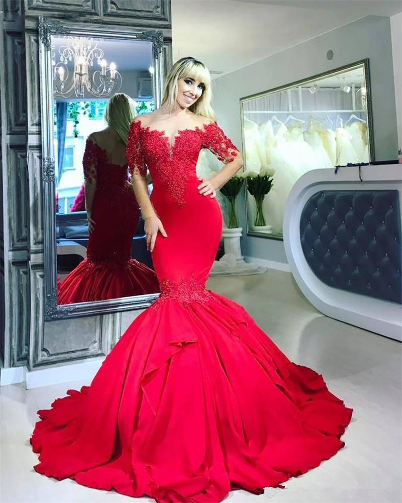 Dubai Red Mermaid Prom Dresses Long Sleeves Appliques Jewel Sheer Neck Formal Party Evening Gowns Robe De Soiree 2020 Cheap