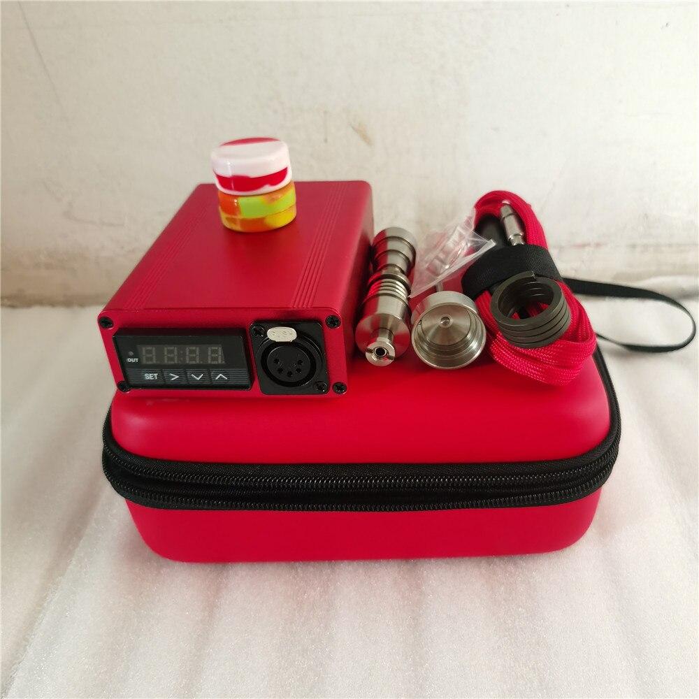Best Christmas Gift Red Enail Dab Kit Electric Dab Nail Pen Rig Wax PID TC Box with 6 in 1 Hybrid Ti&Quartz Nail for Glass Bongs 3