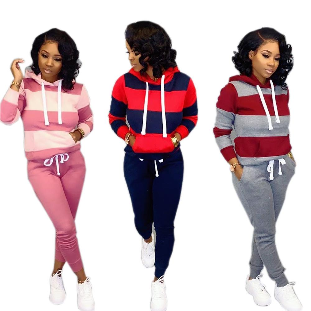 Winter Women's Set Tracksuit Full Sleeve Hoodied Sweatshirt Pockets Casual Pants Suit Two Piece Set Outfits Sweatsuit