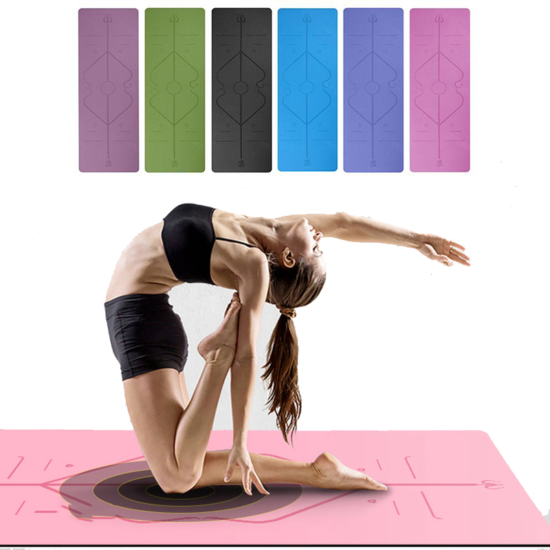 1830*610mm TPE Yoga Mat With Position Line Non Slip Fitness Pilates Exercise Gymnastics Mats For Beginner Environmental Carpet