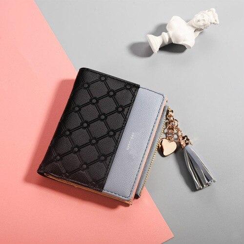 Кожаный кошелек с кисточками для женщин, маленький роскошный бренд, известные мини женские кошельки, кошельки, женские короткие Портмоне на молнии, кошелек Cartera Mujer - Цвет: Black
