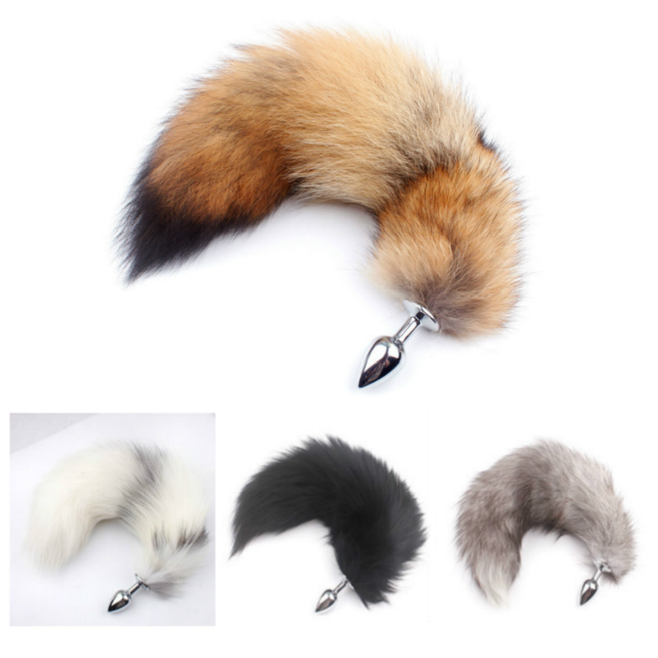Huge Anal Plug Tail Fox Tail Butt Plug Anal Real Hair Sex Toys For Women Men Sex Shop Dog Wolf Tail Masturbation Device Sexy