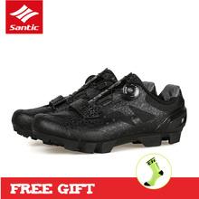Santic 2019 mężczyźni oddychające obuwie rowerowe Spin klamra MTB buty na rower górski elastyczne szybkie suche PU blokady buty miękkie buty rowerowe tanie tanio CN (pochodzenie) Dla dorosłych Syntetyczny Średnie (b m) Gumką MS17003 Pasuje prawda na wymiar weź swój normalny rozmiar