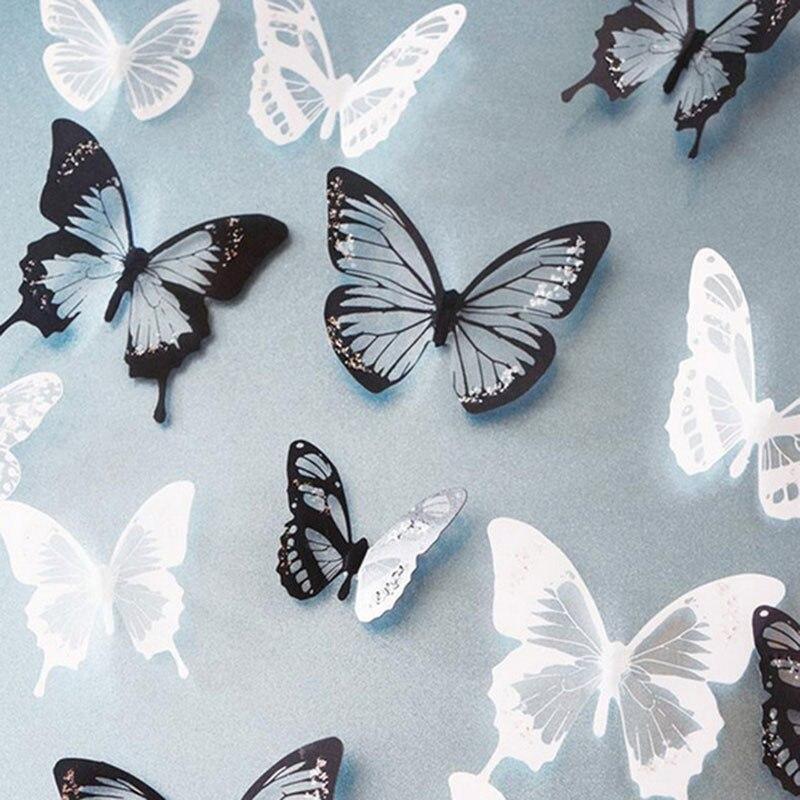 18 unids/lote 3d efecto cristal adhesivo para pared de mariposas hermosa mariposa para niños calcomanías de pared de habitación decoración del hogar en la pared