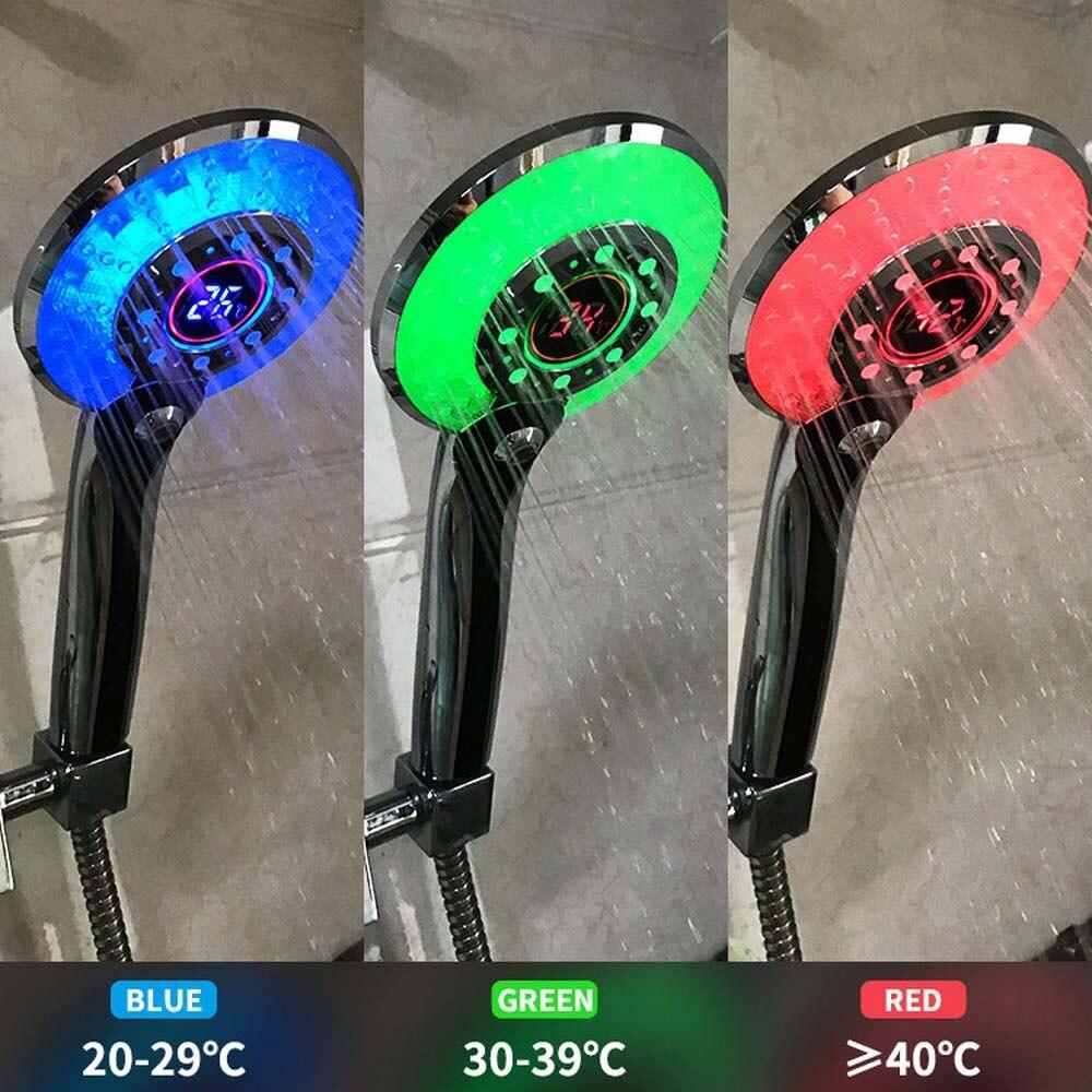 휴대용 샤워 헤드 디지털 온도 제어 샤워 분무기 LED 라이트 3 스프레이 모드 물 절약 샤워 필터 лейка для д