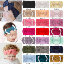 купить Cute Baby Girl Kid Big Bow Hairband Headband Solid Cotton Stretch Turban Knot Head Wrap Headwear Girls Tassels Headband онлайн