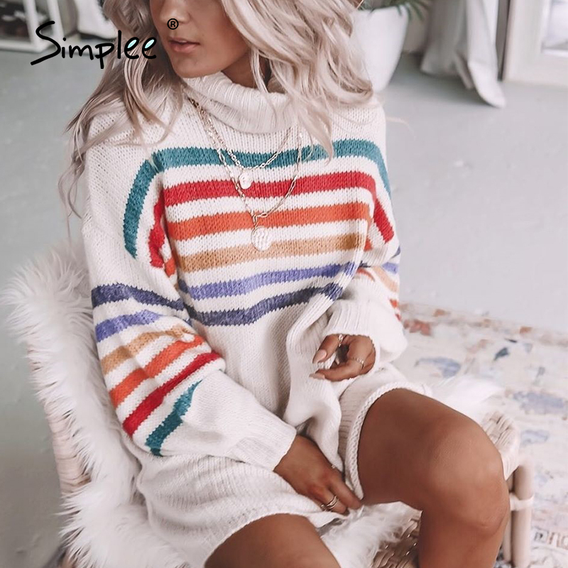 Simplee turtle rainbow knitted dresses women casual high fashion sweater dress short autumn winter sweater dresses vestidos