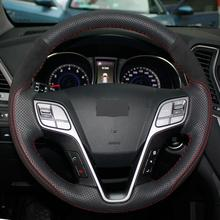 Black Leather Hand-stitched Car Steering Wheel Cover for Hyundai Santa Fe IX45 lsrtw2017 stainless steel car wheel hup cap panel for hyundai santa fe 4th generation 2019 2020