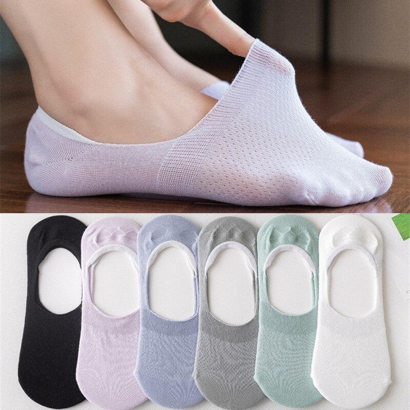 Носки-невидимки женские короткие 10 шт. = 5 пар/лот, хлопковые дышащие, повседневные, с низким вырезом, для девушек и женщин, летние