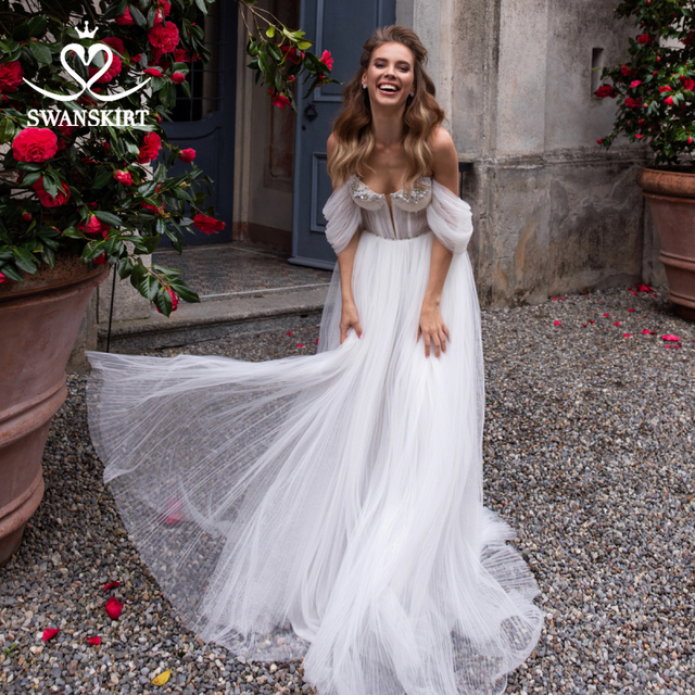 Sweetheart Beaded Wedding Dress 2 In 1 Detachable Off Shoulder Ruched Tulle A Line Swanskirt D101 Bridal Gown Vestido de novia