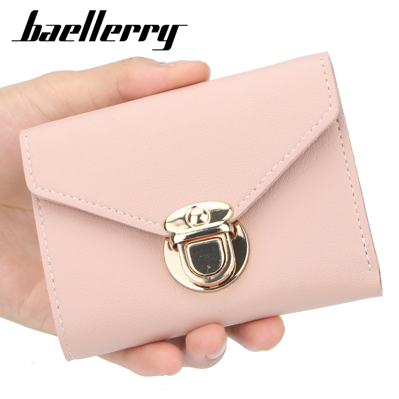 Women Wallet Short Leather Ladies Metal Designer Wallets For Women Mini Candy Color Clutch Brand Female Purse Coin Card Holder