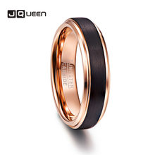 JQUEEN 6mm Rose Gold Plating Tungsten Carbide Rings for Men Black Brushed Wedding Band Step Beveled Edge Comfort Fit Size 5-12(China)