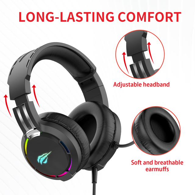 HAVIT Gaming Headset PC USB 3.5mm Wired XBOX / PS4 Headsets with 50MM Driver, Surround Sound & HD Microphone for Computer Laptop 5
