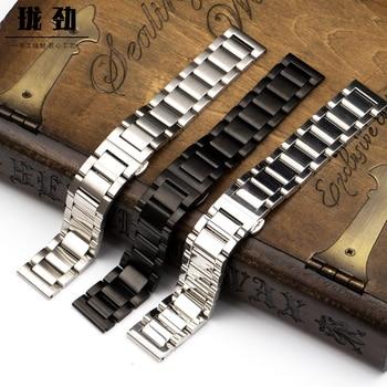 ALLBAI Stainless steel 304 Full Soli Ladder Steel Watch Band Tank Bracelet 20mm Strap 22mm