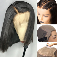 Fake Scalp Bob Lace Front Wigs Short Straight 13X6 Lace Front Human Hair Wigs For Women Black PrePlucked Blunt Bob Wig Remy Hair