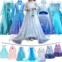 Vestido Cosplay de Elsa para niñas, Blanco nuevo, con lentejuelas, Reina de la nieve 2, disfraz para niños, Navidad, Halloween, ropa de fiesta