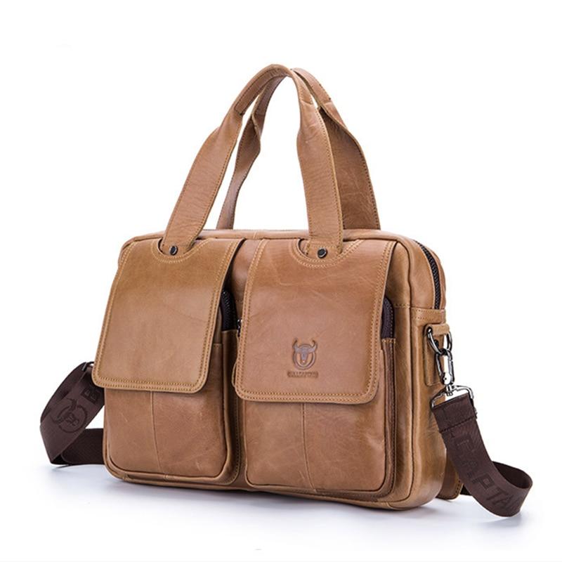Men Bags Business Real Cow Genuine Leather Man Handbags Computer Attache Case Briefcase Laptop Messenger Office Work Mens 0008