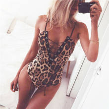 Summer fashion women's leopard bandage jumpsuit Club sexy tight strap openwork halter one-piece briefs jumpsuit jumpsuit top(China)