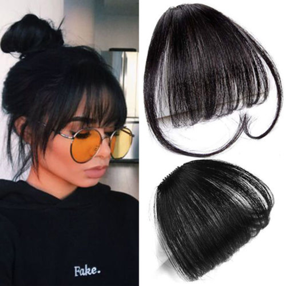 Fake Hair Buns Front Neat Bangs Clip In Hairpiece Fringe Hair Extensions For Women Straight Synthetic Pure Color