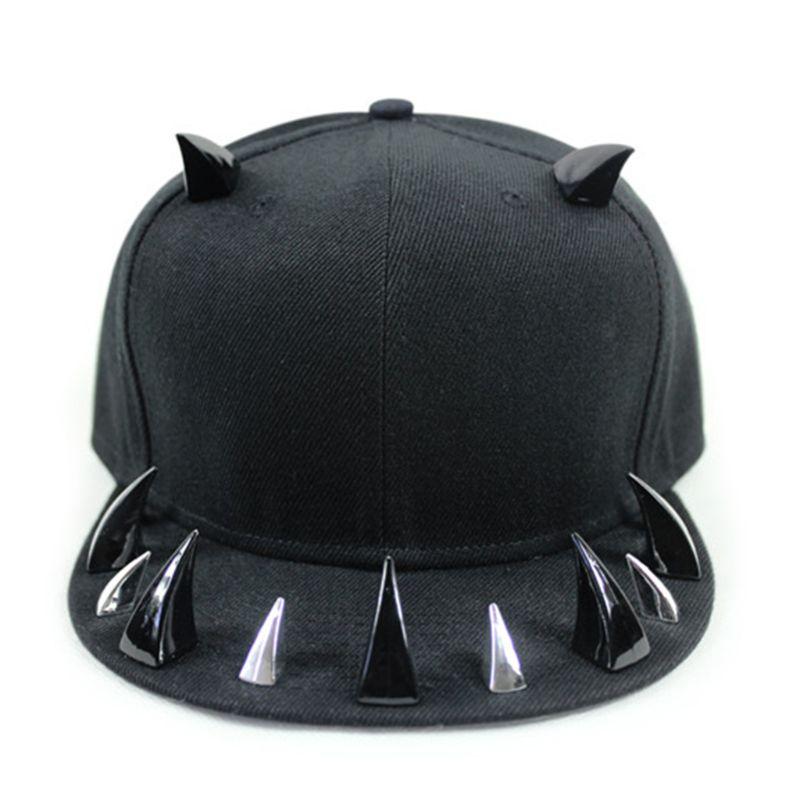 Unisex Punk Gothic Horn Rivets Baseball Hip Hop Street Festival Snapback Hat