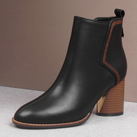 Plus size 34 41 women's genuine leather thick high heel ankle boots brand designer elegant ladies autumn short booties high quality comfortable round toe boots shoes for women
