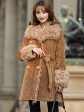 PUDI CT931 Winter women warm real sheep fur coat  jacket Lady genuine pig split skin leisure girl long coats overcoat